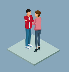 young couple 3d vector image