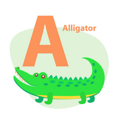 zoo abc letter with cute alligator cartoon vector image