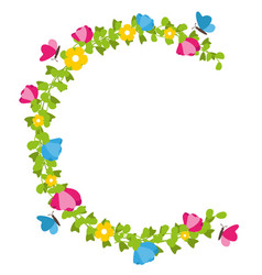 floral wreath with butterflies spring concept vector image vector image