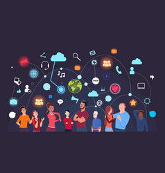 group of people over social media icons background vector image