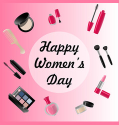 happy womans day card of icons vector image vector image
