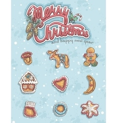 Merry Christmas greeting card with items vector image vector image