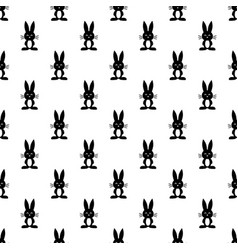 pattern with black rabbits vector image vector image