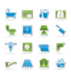 Construction and building equipment Icons vector image