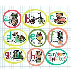 Cute colorful cartoon alphabet from A to H vector image vector image