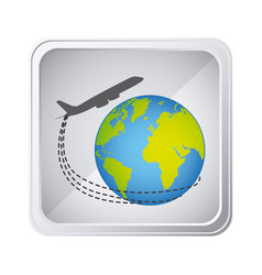 emblem planet earth with a plane close up icon vector image vector image