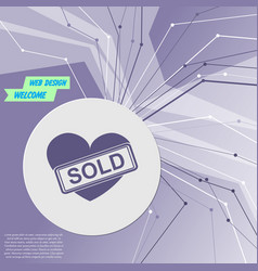 heart icon on purple abstract modern background vector image vector image