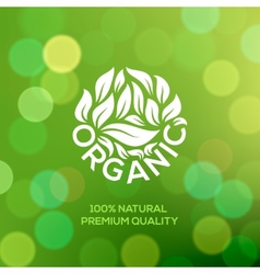 Organic food label on green background vector image