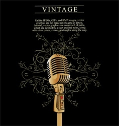 vintage microphone background vector image vector image