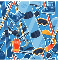 Winter sports seamless pattern with equipment vector image