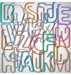 Alphabet letters made from paperclip vector image