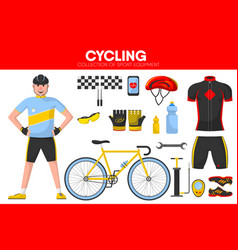 cycling races sport equipment cycler garment vector image vector image