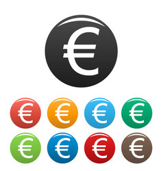 euro symbol icons set vector image vector image