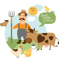 farmer and his farm vector image vector image