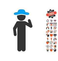 gentleman opinion icon with love bonus vector image vector image