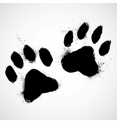 Grunge dog paws vector image vector image