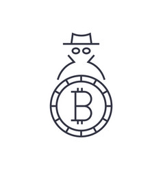 Logo bitcoin concept of anonymity and security vector