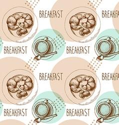 seamless pattern breakfast vector image