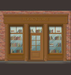facade of bookstore front view vector image