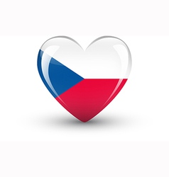 Heart-shaped icon with flag of the Czech Republic vector image