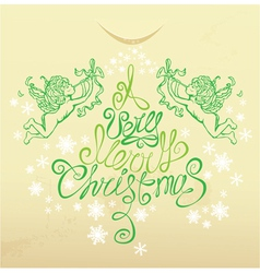 Holiday card with with hand drawn of angels vector image