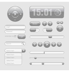 Light Web UI Elements Design Gray Elements Buttons vector image