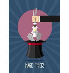 Magic trick Magician holding rabbit by ears Rabbit vector image vector image