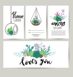 succulent plant greeting card invitation flower vector image vector image