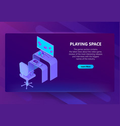 3d isometric gaming site entertainment vector