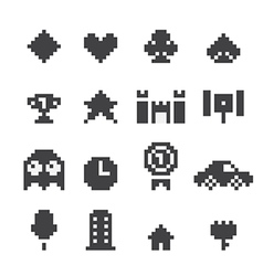 8 bit icons set vector image