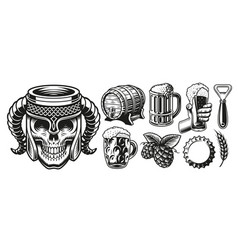 a set for beer theme vector image