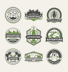 adventure outdoor vintage isolated label set vector image