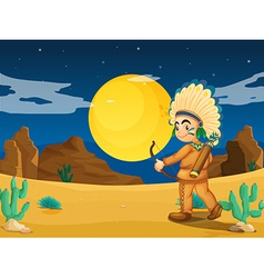 An Indian at the desert vector image