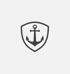 anchor shield icon vector image