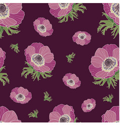 Anemone flower pattern vector