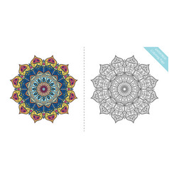 Antistress coloring page mandala twelfth vector
