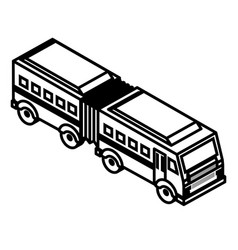 Articulated bus transport isometric icon vector