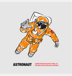 Astronaut flying in space outline space vector