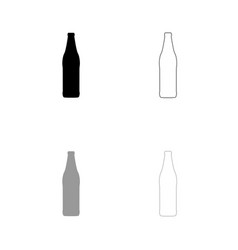 beer bottle black and grey set icon vector image