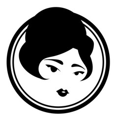 Black and white icon with cute vintage lady vector