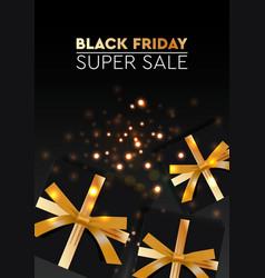 black friday sale banner poster logo golden color vector image