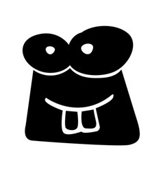 black icon funny toad face vector image