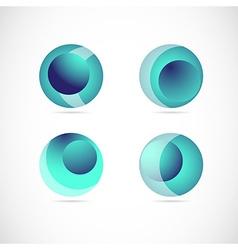 Blue sphere logo icon element set vector image