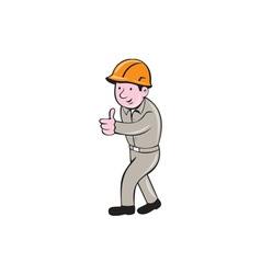 Builder construction worker thumbs up cartoon vector