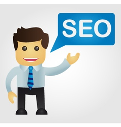 Business man with a word SEO vector
