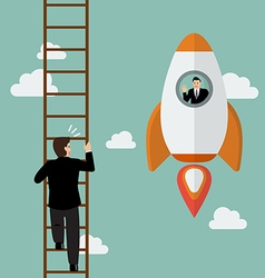 Businessman on a rocket fly pass businessman vector image