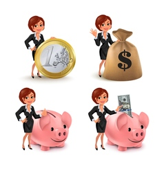 Cartoon business woman money vector image