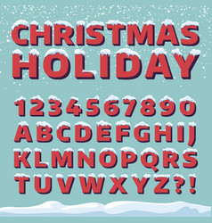 Christmas holiday font retro 3d letters vector