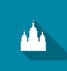 church flat icon with long shadow vector image vector image