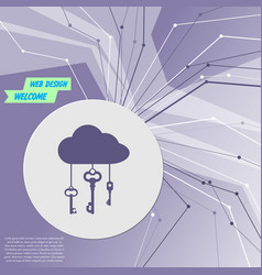 cloud computer storage with lock icon on purple vector image
